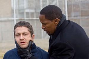 Gerard Butler y Jamie Fox en un crucial momento del drama policial Un Ciudadano Ejemplar