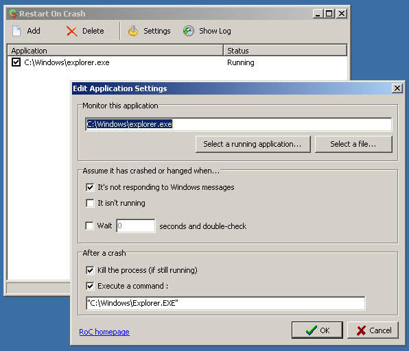 Reinicio automático de cualquier programa después de una caída