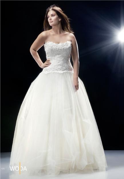 Vestido de novia en tallas grandes sin tirantes