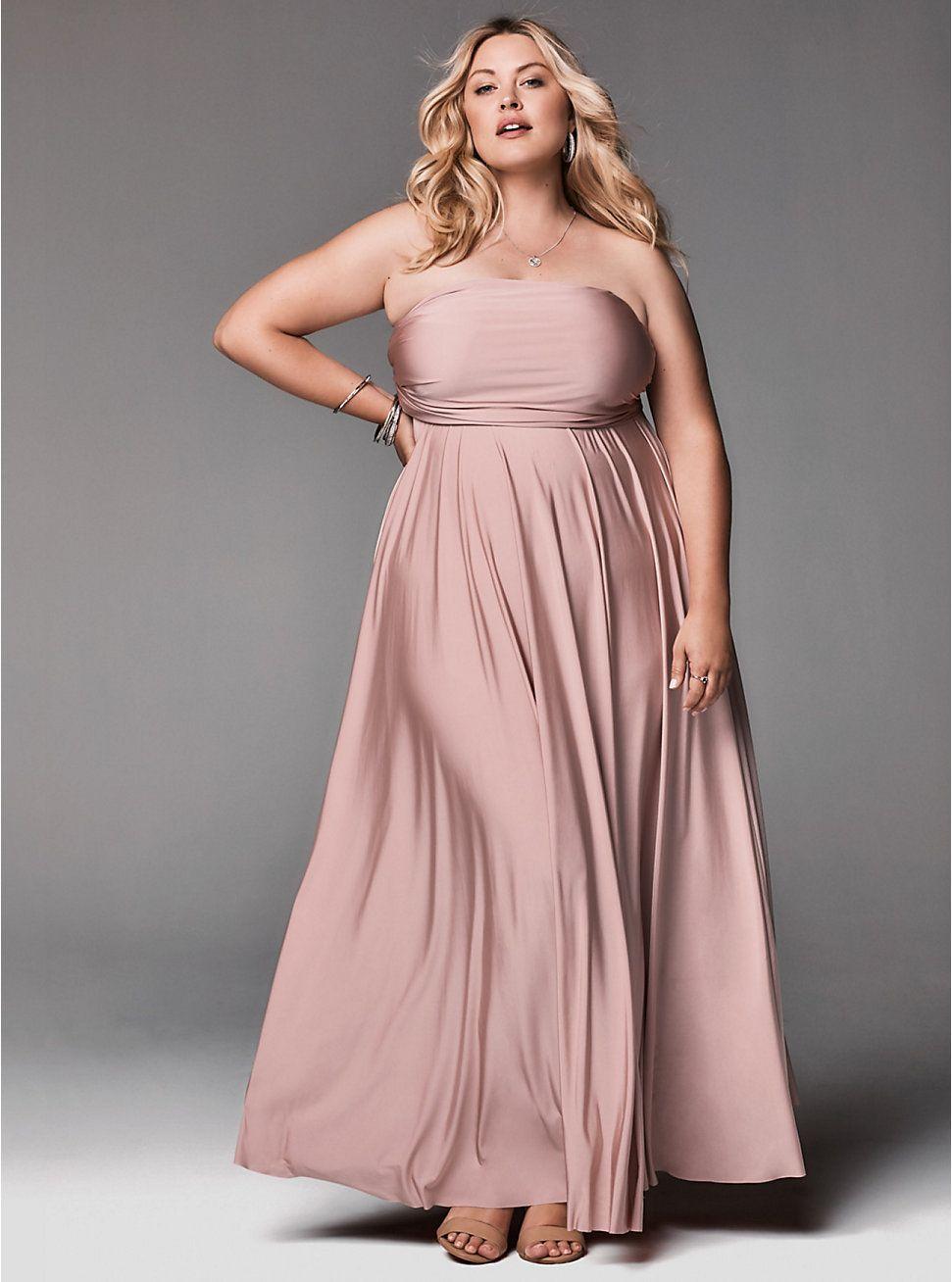 Vestido color palo de fiesta en talla grande