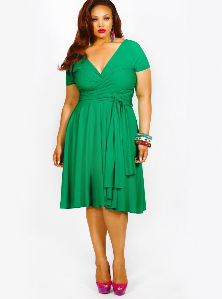 vestido verde de talla grande convertible
