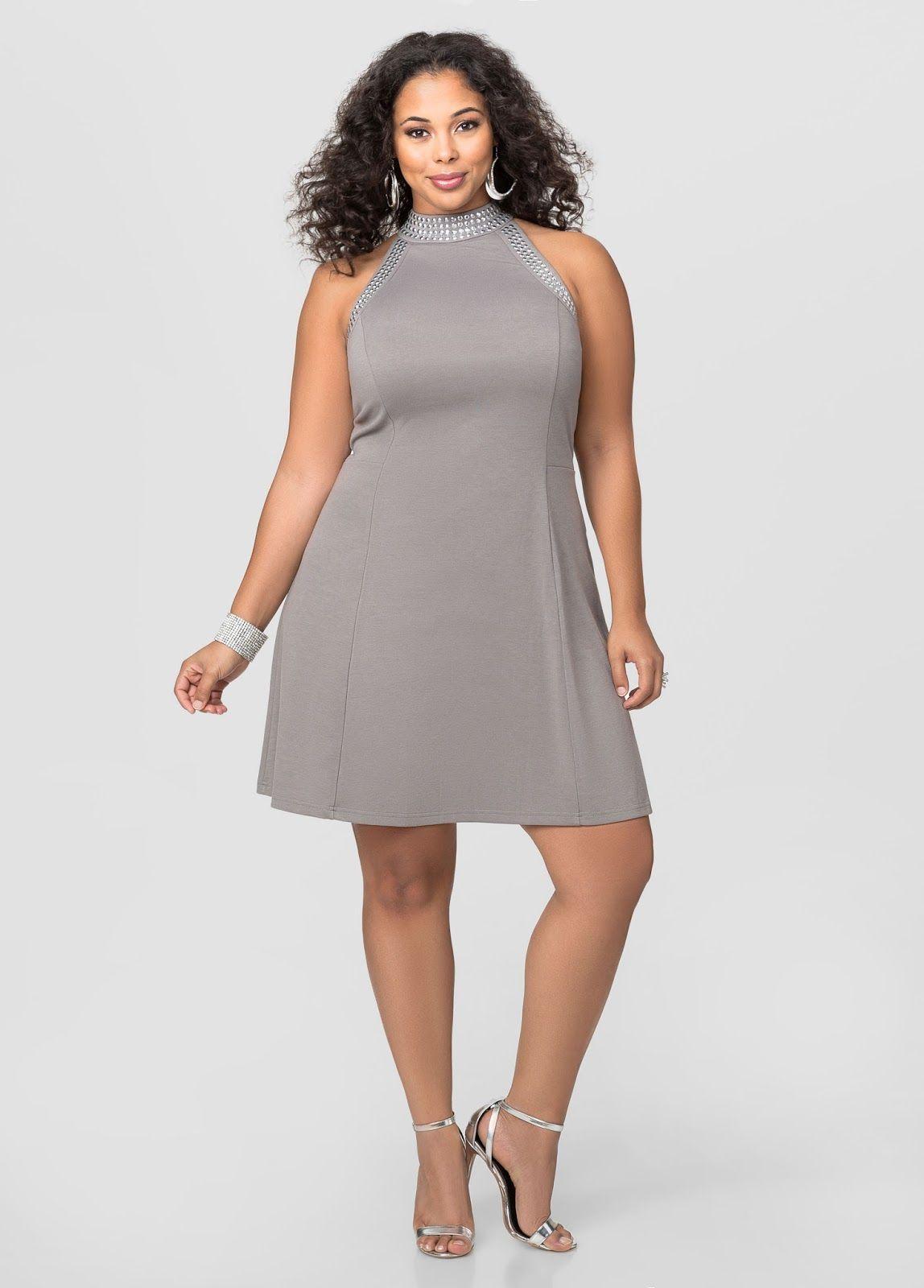 Vestido gris corto de talla grande