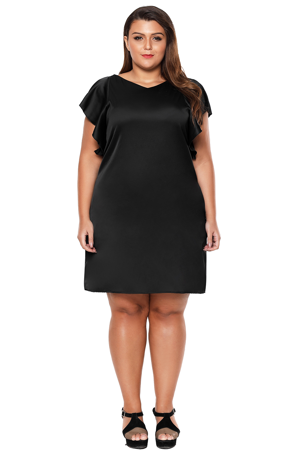 Black Flutter Sleeve Plus Size Shift Dress 5