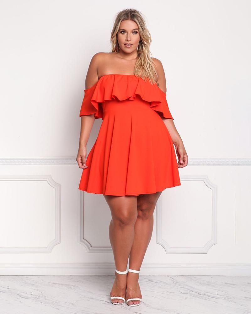 vestido rojo corto talla plus