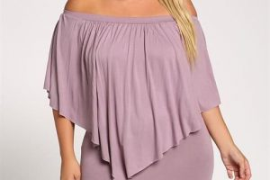 Plus Size Layered Off Shoulder Pointed Dress