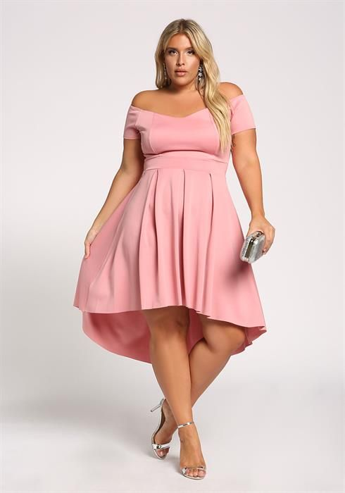 Plus Size Off Shoulder Flared Hi-Lo Dress