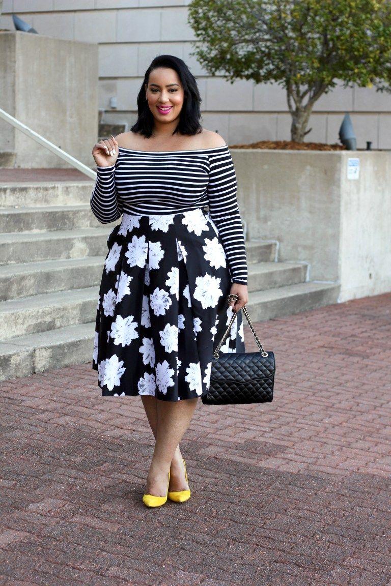 combinación color blanco negro talla grande