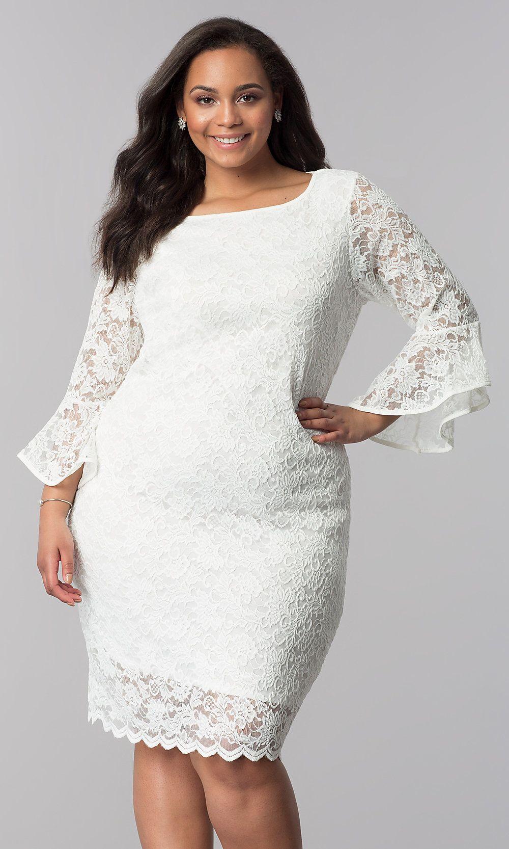 plus-size short white lace party dress