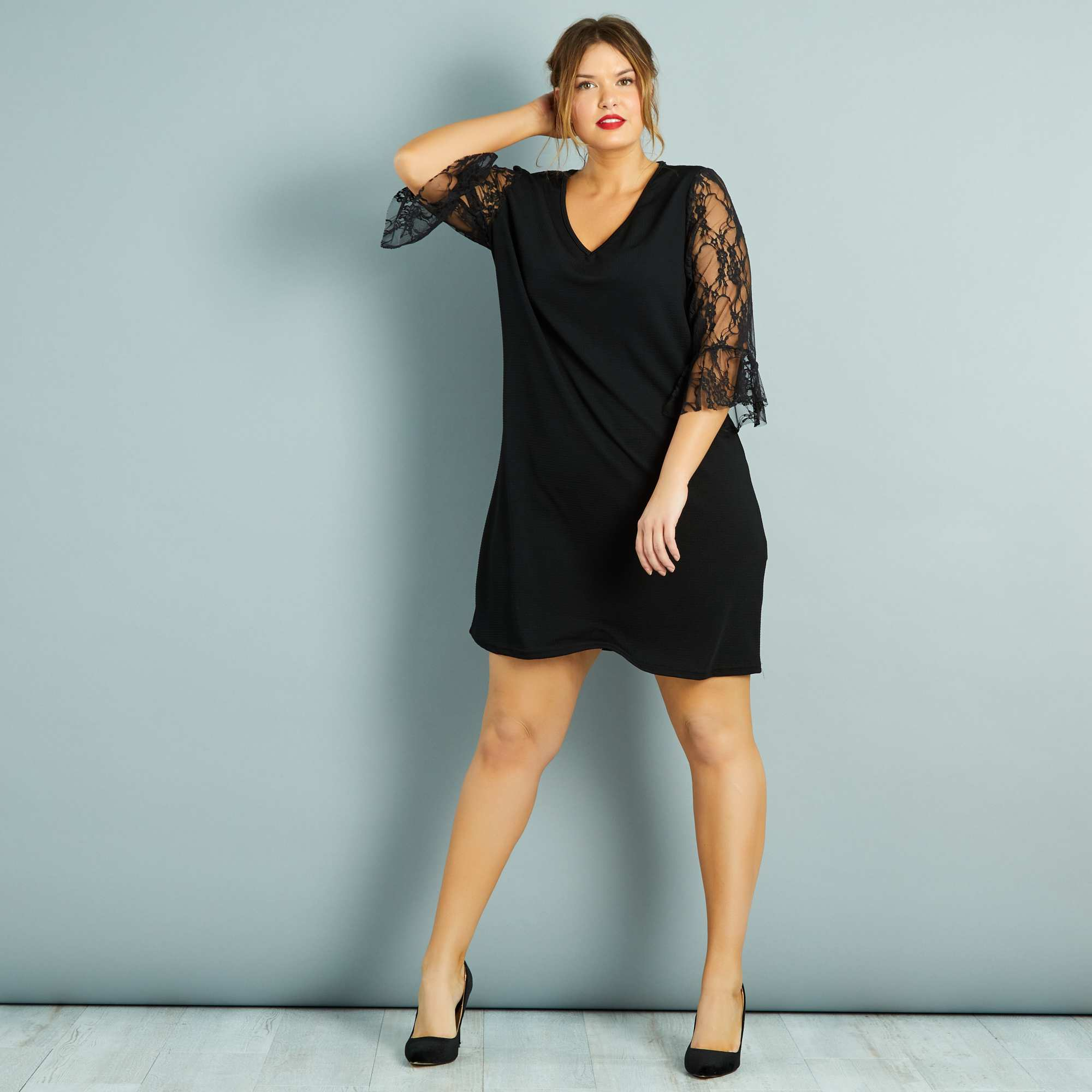robe courte manches en dentelle noir grande taille femme wa105_1_zc1