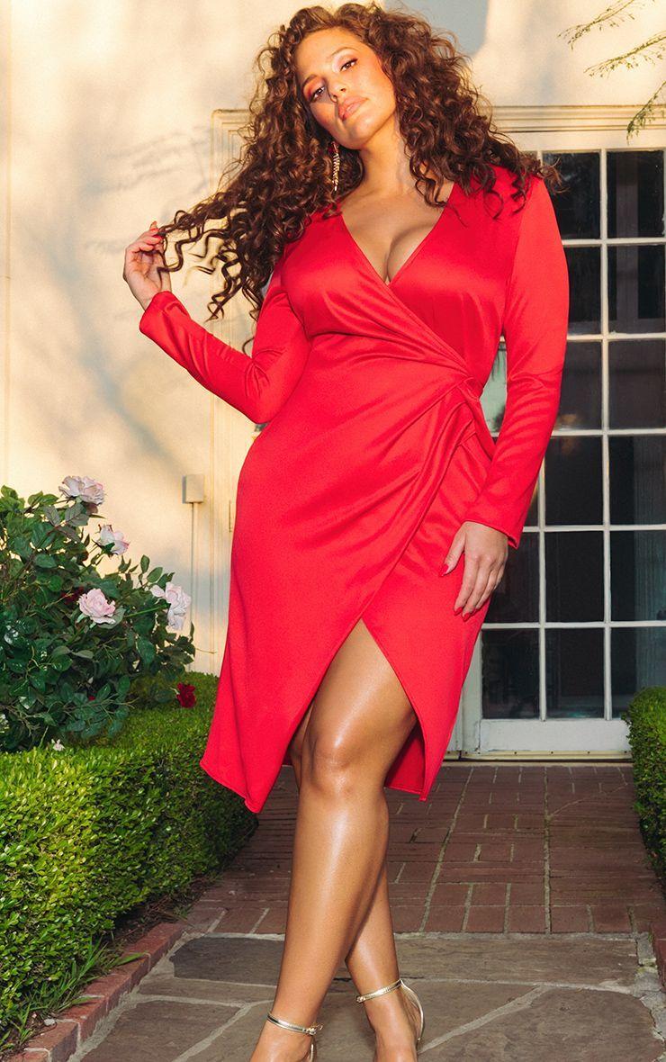 vestido rojo pasion talla grande