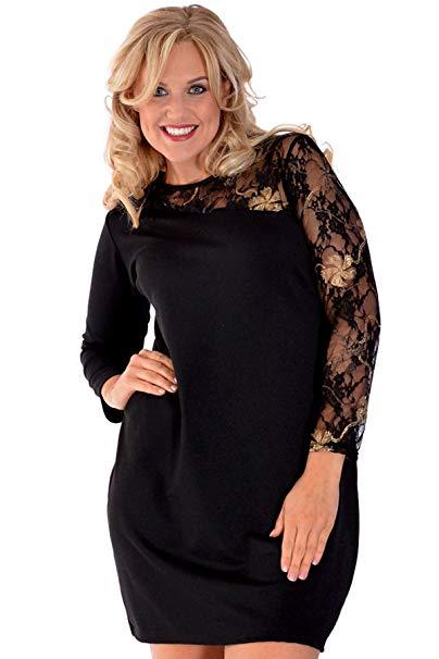 vestido talla grande de punto en negro encaje