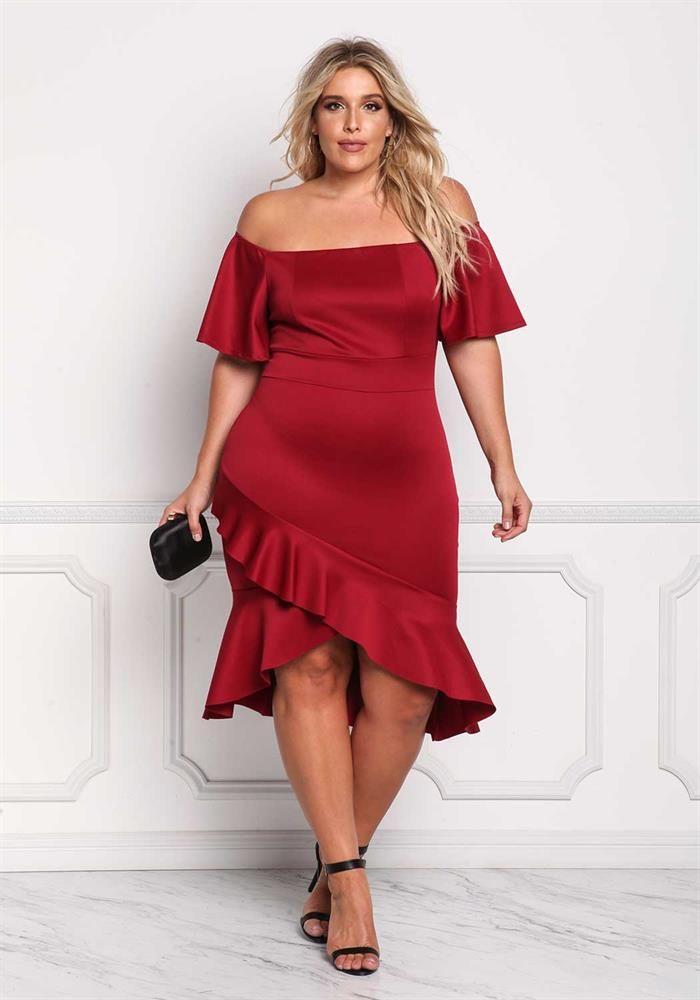 Plus Size Off Shoulder Ruffle Hi-Lo Dress
