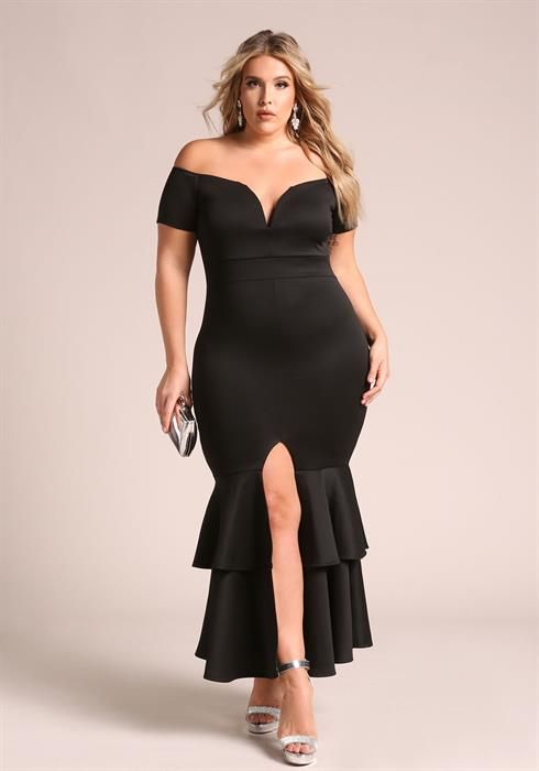 Plus Size Off Shoulder Ruffle Tiered Maxi Gown