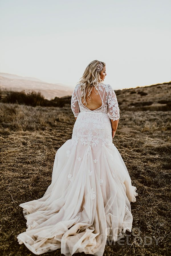 Wedding Dress with Appliques and Beading