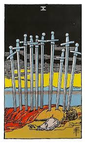 Diez de espadas tarot Rider-Waite