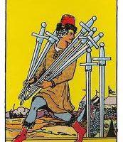 Siete de Espadas tarot Rider-Waite