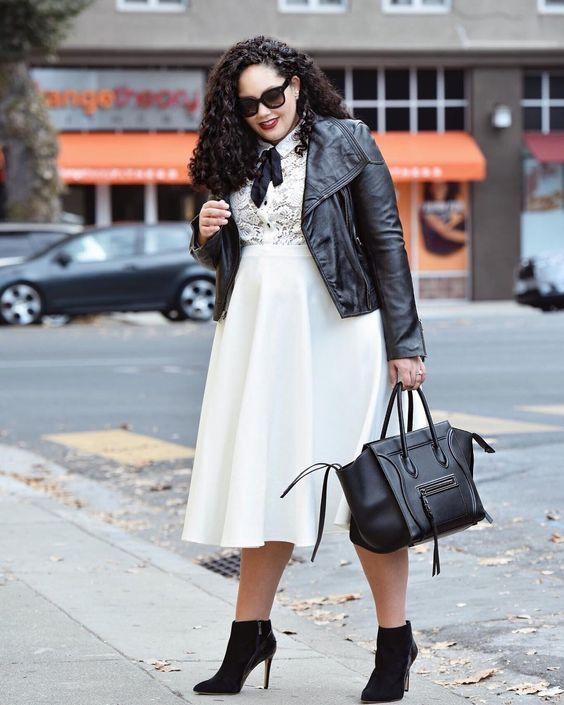 vestido blanco talla grande con chaqueta piel