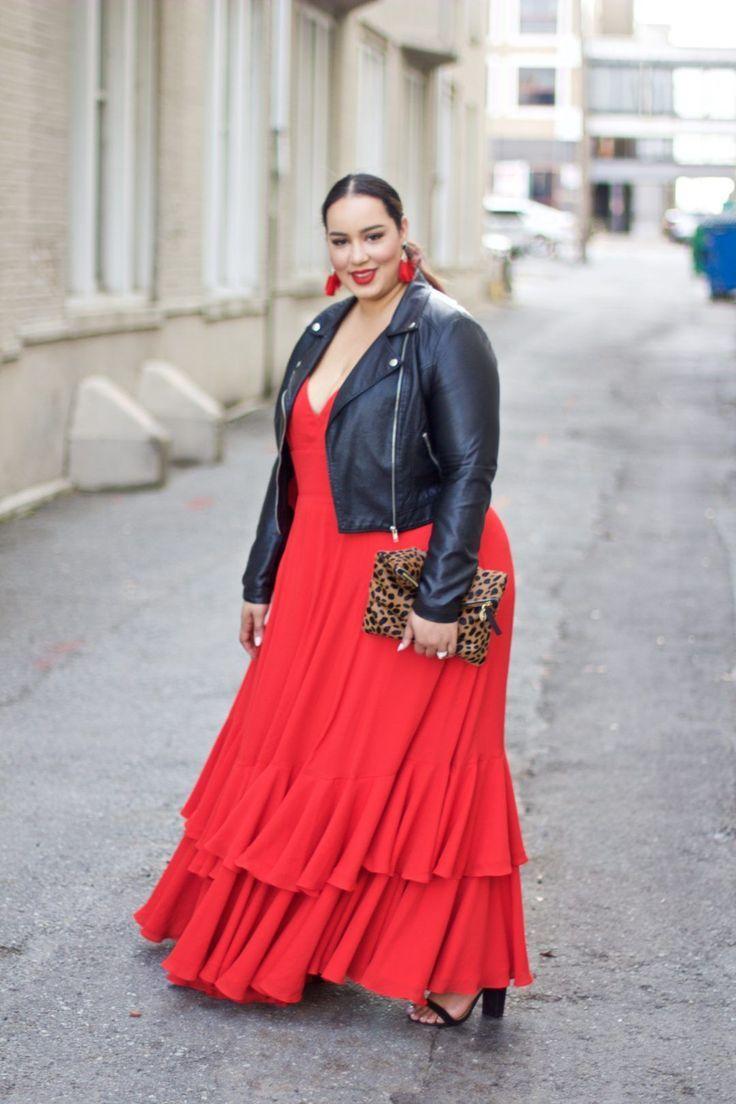 vestido rojo con chaqueta cuero negro talla grande