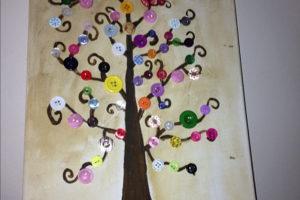 Cuadros con botones y cestos de ganchillo