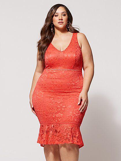 vestido rojo corto talla grande