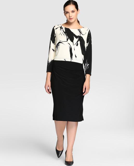 Vestidos Talla Grande temporada invierno - vestido en negro y blanco