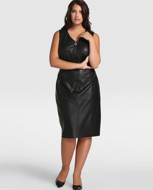 Vestidos Talla Grande temporada invierno - vestidos de cuero negro