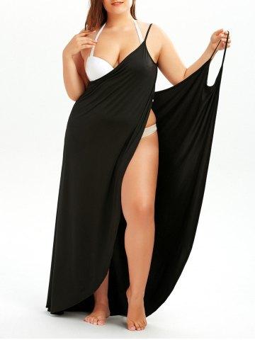 Vestidos de Playa Tallas Grandes - vestido de playa ajustable negro tallas grandes
