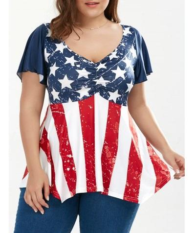 Camisetas de verano estampadas talla grande 2017 - camisetas bandera americana