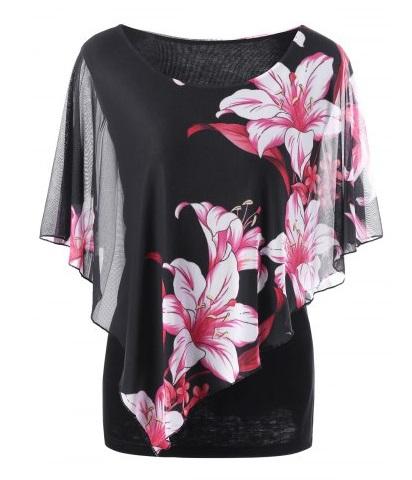 Camisetas de verano estampadas talla grande 2017 - camiseta de flores en negro y rosa