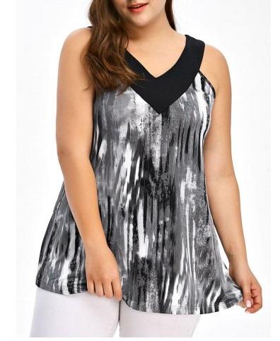 Camisetas de verano estampadas talla grande 2017 - camiseta degradada en blanco y negro