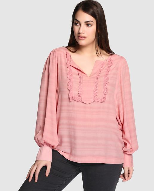 Aprovecha el 70% de descuento Final Rebajas El Corte Inglés - blusa rosa tallas grandes