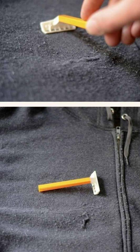 retira bolitas de la ropa