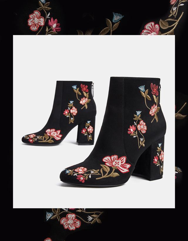 Botines estampados para tallas grandes tendencia - botines flores estampados en negro