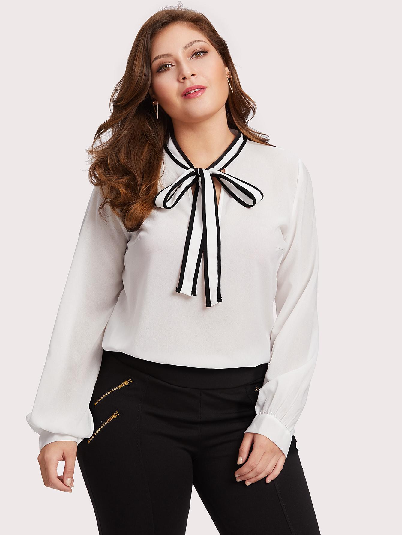 Blusas Tallas grandes por menos de 15 euros en Shein - blusas blancas con lazo
