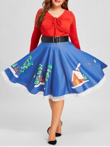 Faldas de Navidad Tallas grandes- falda navidad azul