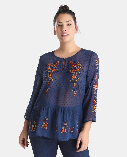 Adelanto Nueva Temporada Moda XXL Couchel - blusa bordada plumeti