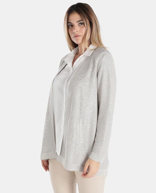 Chaquetas de punto tallas grandes para primavera - chaqueta punto blanca