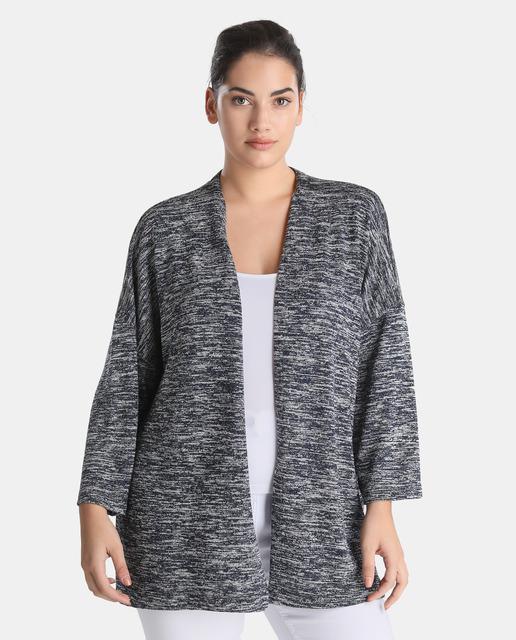 Chaquetas de punto tallas grandes para primavera - chaqueta punto gris