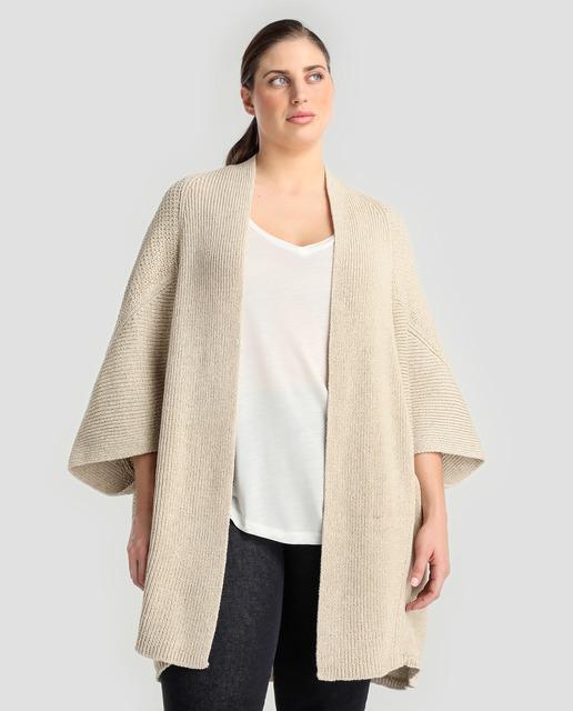 Chaquetas de punto tallas grandes para primavera - chaqueta beige punto