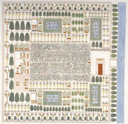 plano de un jardin huerto del Antiguo Egipto